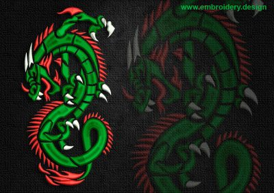 This Cunning celtic dragon design was digitized and embroidered by www.embroidery.design.
