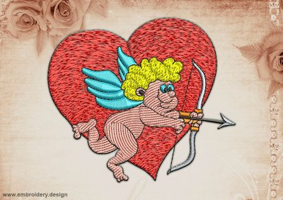 This Cupid archery design was digitized and embroidered by www.embroidery.design.