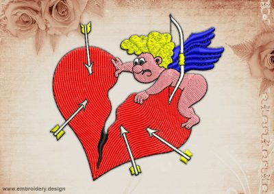 This Cupid and damaged heart design was digitized and embroidered by www.embroidery.design.