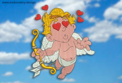 This Cupid in love design was digitized and embroidered by www.embroidery.design.