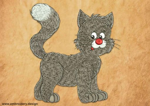 This Curious fluffy kitten design was digitized and embroidered by www.embroidery.design.