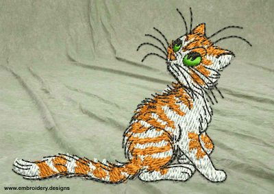 This Curious kitten design was digitized and embroidered by www.embroidery.design.