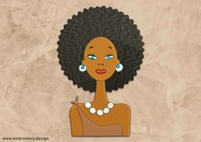 This Curly African woman in jewelry design was digitized and embroidered by www.embroidery.design.