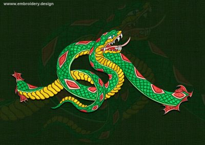 This Curved Boa design was digitized and embroidered by www.embroidery.design.