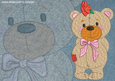 This Cute bear cub design was digitized and embroidered by www.embroidery.design.