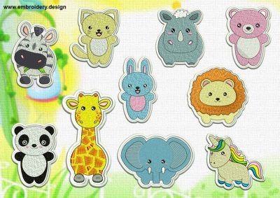 This Cute Kawaii Animals patches embroidery designs pack design was digitized and embroidered by www.embroidery.design.
