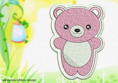 This Cute Kawaii Bear patch design was digitized and embroidered by www.embroidery.design.