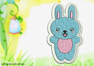 This Cute Kawaii Bunny patch design was digitized and embroidered by www.embroidery.design.