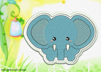 This Cute Kawaii Elephant patch design was digitized and embroidered by www.embroidery.design.