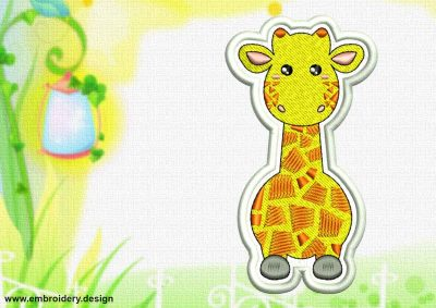 This Cute Kawaii Giraffe patch design was digitized and embroidered by www.embroidery.design.