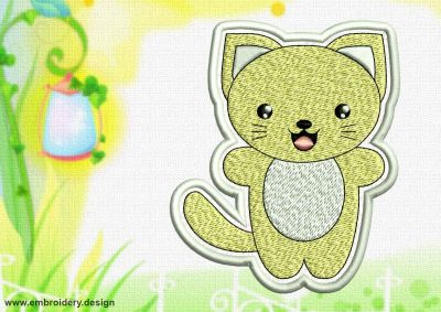 This Cute Kawaii Kitty patch design was digitized and embroidered by www.embroidery.design.
