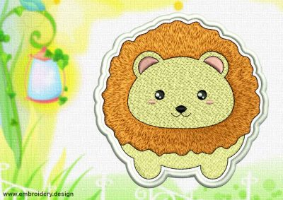 This Cute Kawaii Leo patch design was digitized and embroidered by www.embroidery.design.
