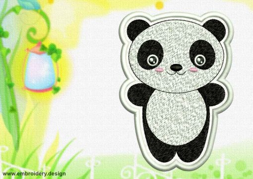 This Cute Kawaii Panda patch design was digitized and embroidered by www.embroidery.design.