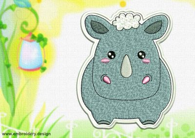 This Cute Kawaii Rhinoceros patch design was digitized and embroidered by www.embroidery.design.
