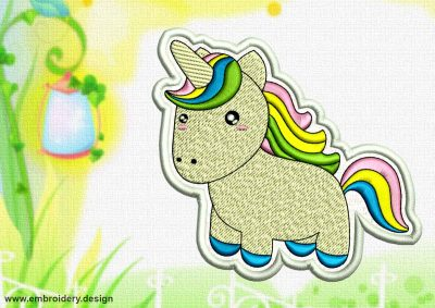This Cute Kawaii Unicorn patch design was digitized and embroidered by www.embroidery.design.