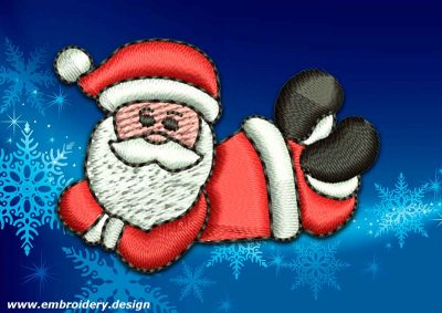 This Cute Santa Claus design was digitized and embroidered by www.embroidery.design.