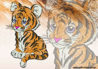 This Cute tiger cub design was digitized and embroidered by www.embroidery.design.