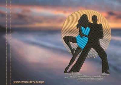This Dance of love Bachata design was digitized and embroidered by www.embroidery.design.