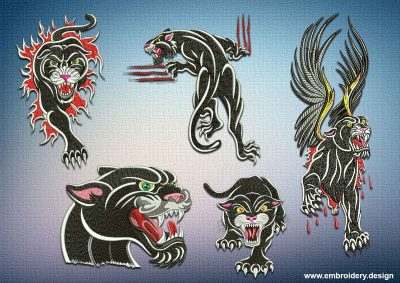 This Dangerous panthers embroidery designs pack design was digitized and embroidered by www.embroidery.design.