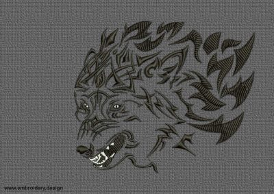 The embroidery design Dangerous wolf was digitized and tested by EmbroSoft team. 8 formats are included.