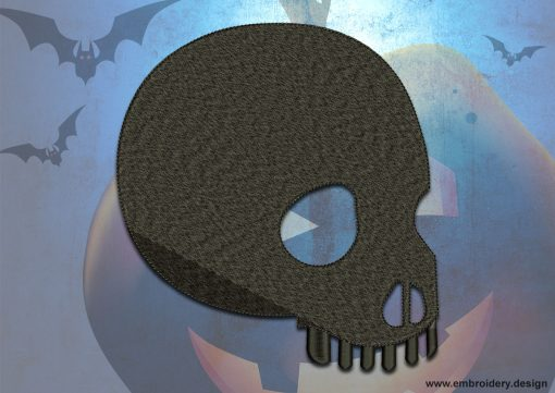 This Dark skull design was digitized and embroidered by www.embroidery.design.