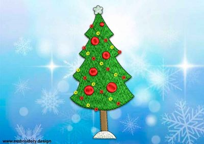 This Decorated Christmas tree design was digitized and embroidered by www.embroidery.design.