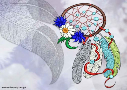 This Decorated dreamcatcher design was digitized and embroidered by www.embroidery.design.