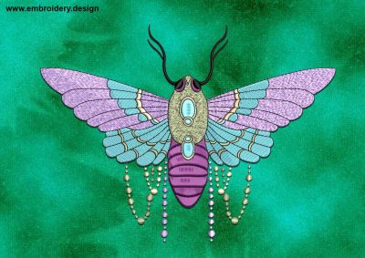 This Decorated moth design was digitized and embroidered by www.embroidery.design.