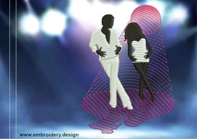 This Disco Samba dance design was digitized and embroidered by www.embroidery.design.