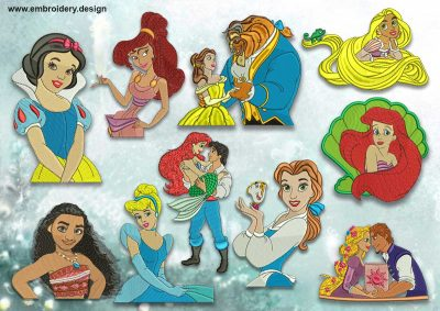 The pack of embroidery designs Disney princesses