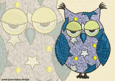This Displeased owl with stars design was digitized and embroidered by www.embroidery.design.