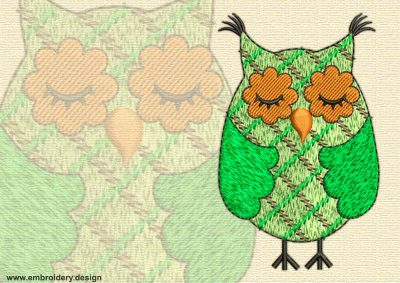 This Dormant owl design was digitized and embroidered by www.embroidery.design.