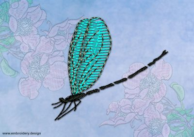 This Dragonfly with translucent wings design was digitized and embroidered by www.embroidery.design.