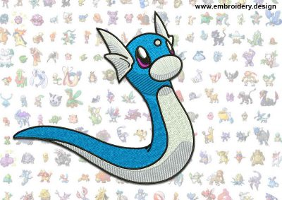 This Dratini Pokemon design was digitized and embroidered by www.embroidery.design.
