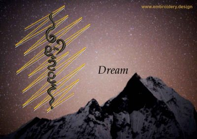 This Dream on gold background design was digitized and embroidered by www.embroidery.design.