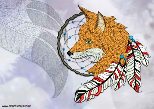 This Dreamcatcher with fox design was digitized and embroidered by www.embroidery.design.