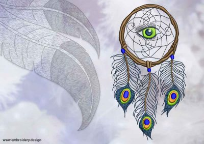 This Dreamcatcher with peacock feathers design was digitized and embroidered by www.embroidery.design.