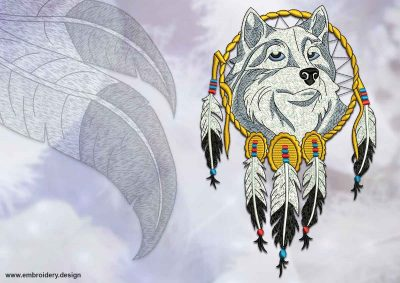 This Dreamcatcher with wolf design was digitized and embroidered by www.embroidery.design.