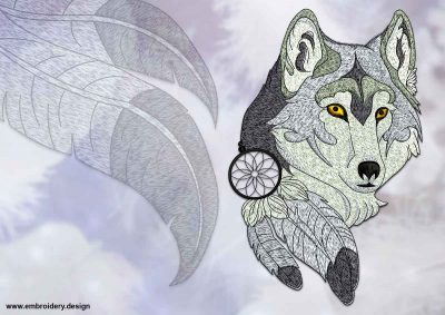This Dreamcatcher with wolf's head design was digitized and embroidered by www.embroidery.design.