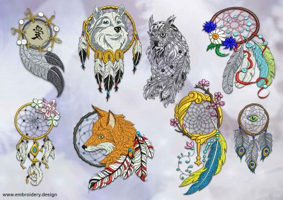 This Dreamcatchers embroidery designs pack design was digitized and embroidered by www.embroidery.design.