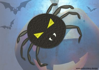 This Eerie spider design was digitized and embroidered by www.embroidery.design.