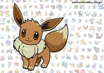This Eevee Pokemon design was digitized and embroidered by www.embroidery.design.