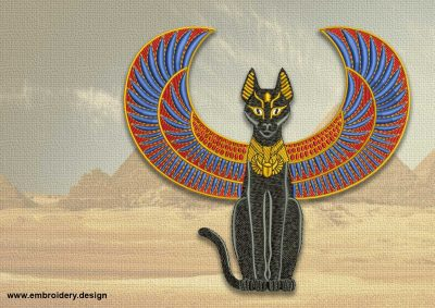 The embroidery design Egyptian winged cat