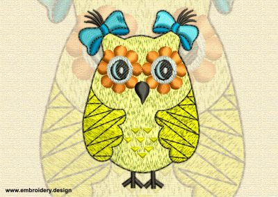This Elegant owl design was digitized and embroidered by www.embroidery.design.