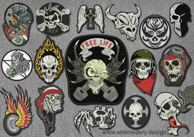 embroidery design biker patch free life patches pack collection