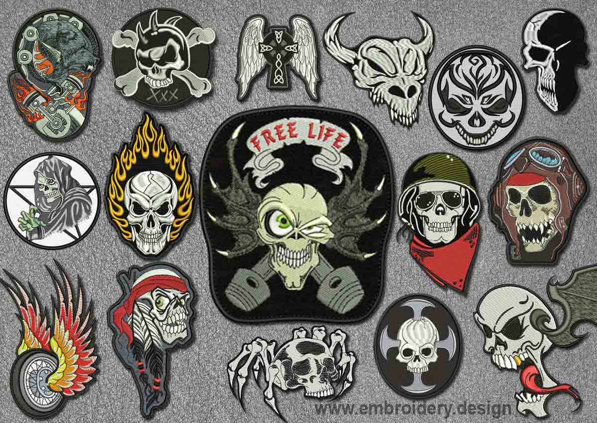 Biker Patches Embroidery Designs Pack 1 Collection Of 16 Www