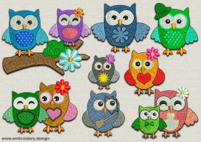 This Endearing owls pack #2 design was digitized and embroidered by www.embroidery.design.