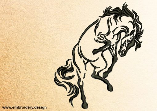 The embroidery design Energetic Horse was made using delicate satin stitching outlines