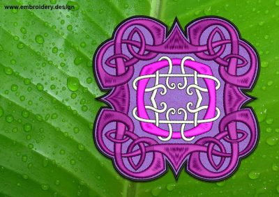 This Ethnic Celtic Knot patch, transparent background design was digitized and embroidered by www.embroidery.design.