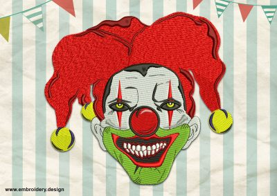 The embroidery design Evil Clown depicts the frightening portrait of this well known circus character.